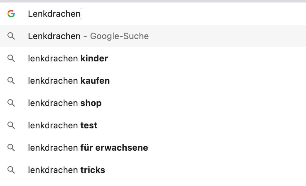Keyword-Recherche: und Google Suggest