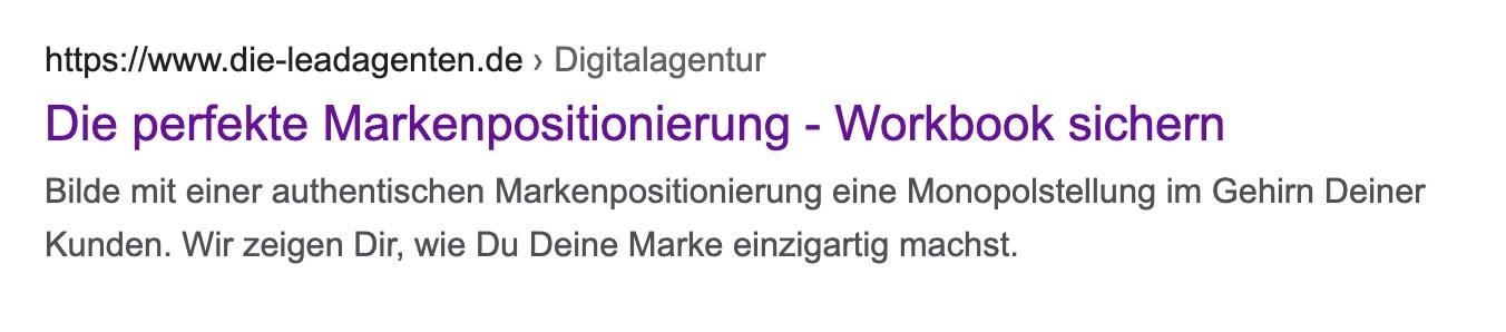 Google Snippet - Title und Description